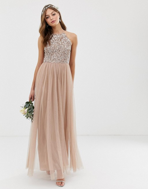 #asos #blush #Bridesmaid #delicate #dress #Halter #Maxi # ...