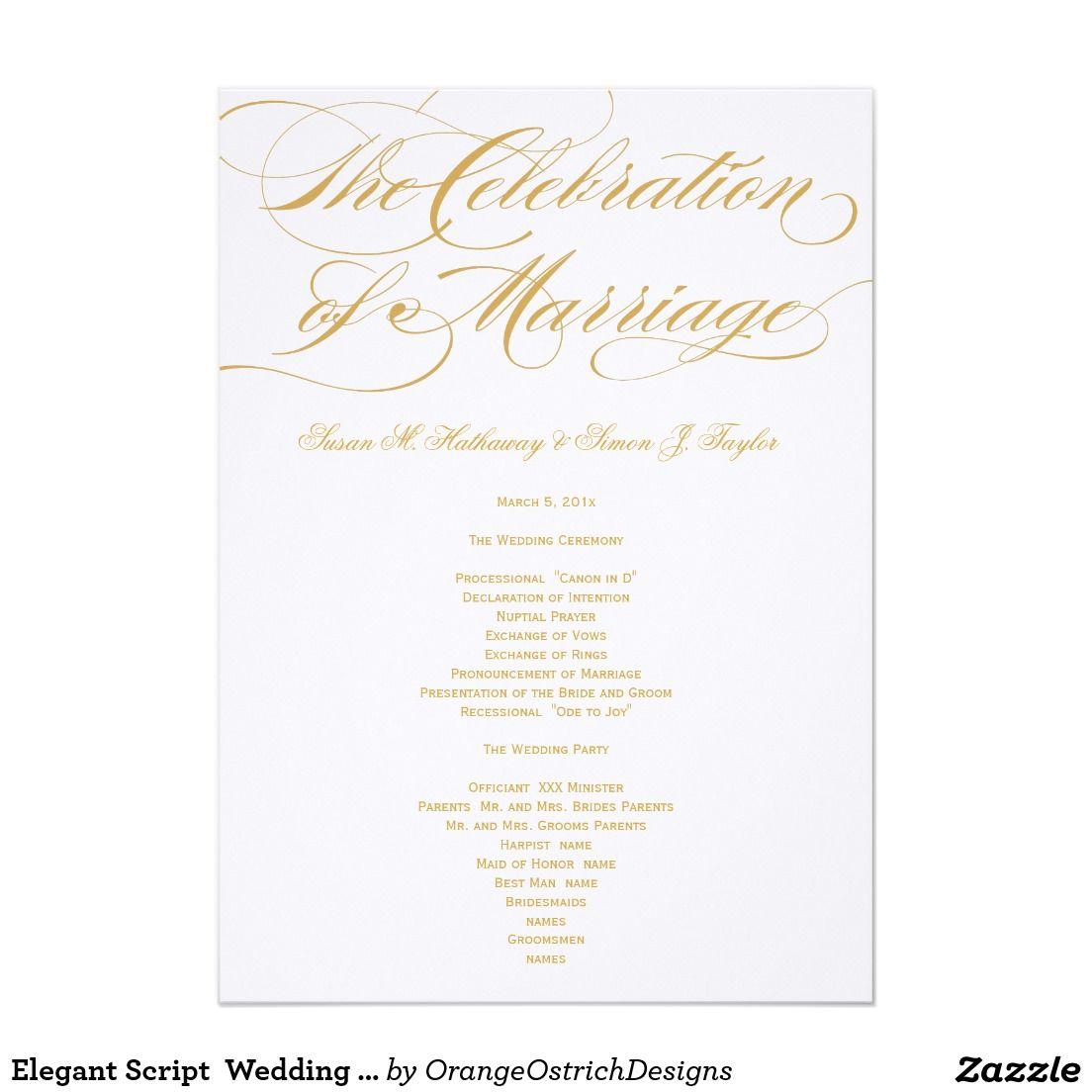 Elegant Script Wedding Program