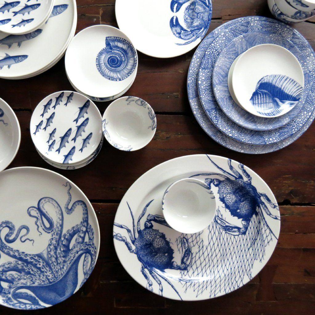 Crabs Nets Blue 15 Rimmed Oval Platter Pottery Decor Beach Decor