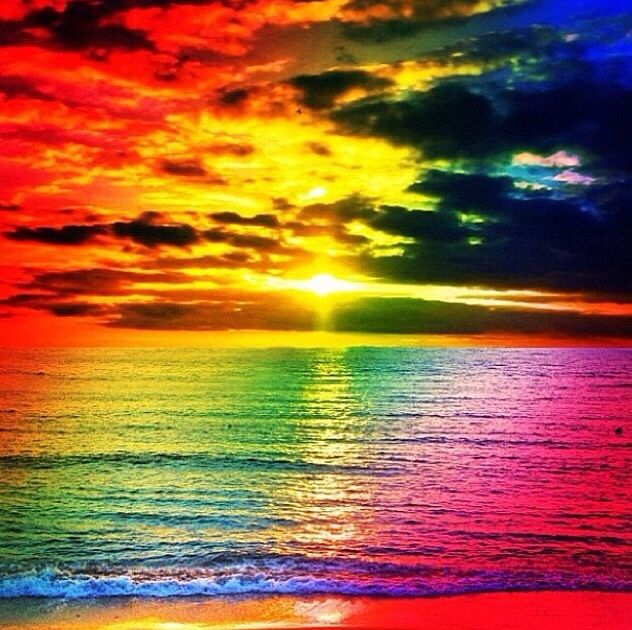 Colorful Beach Sunset With Images Rainbow Sunset Beautiful