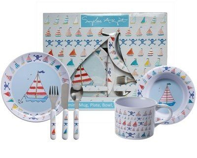 Sophie Allport Childrens Melamine Set Sailing Boats Plate Bowl Cup Knife Fork Spoon Amazon Co Uk Kitchen Home Dinner Sets Plates Cutlery Set