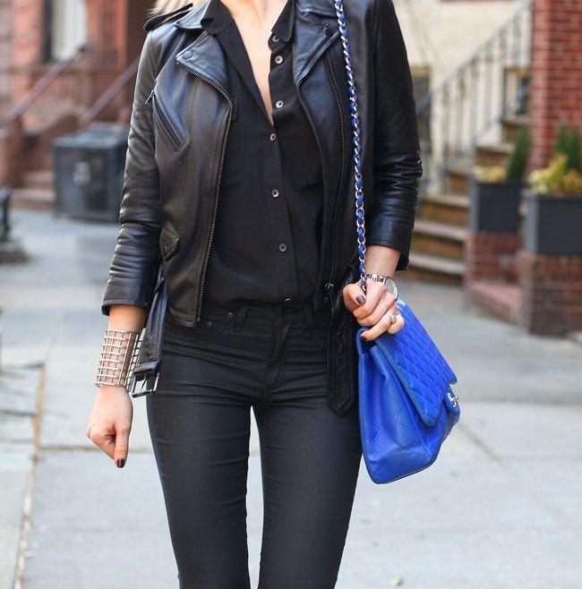 Pants: Rag & Bone | Button Down: Equipment | Leather Jacket: H | Shoes: Zara | Cuff: YSL | Bag: Chanel | Watch: Michael Kors | Sunglasses: Celine | Watch: Michael Kors