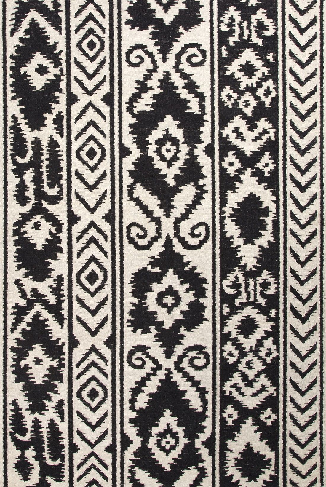 Flat Weave Tribal Pattern Wool Ivory Black Area Rug 5 X 8