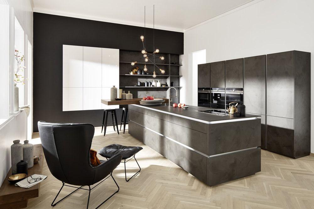 Cuisine Design Ciment Nolte Mur Noir Fauteil Design 200 Idees Deco Pour Relooker Votre Cuisine Avec Sleek Kitchen Contemporary Kitchen Small Space Kitchen