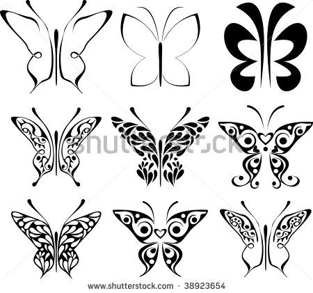 butterfly patterns to trace set of stylized tattoo butterfly abstract black and white images. Black Bedroom Furniture Sets. Home Design Ideas