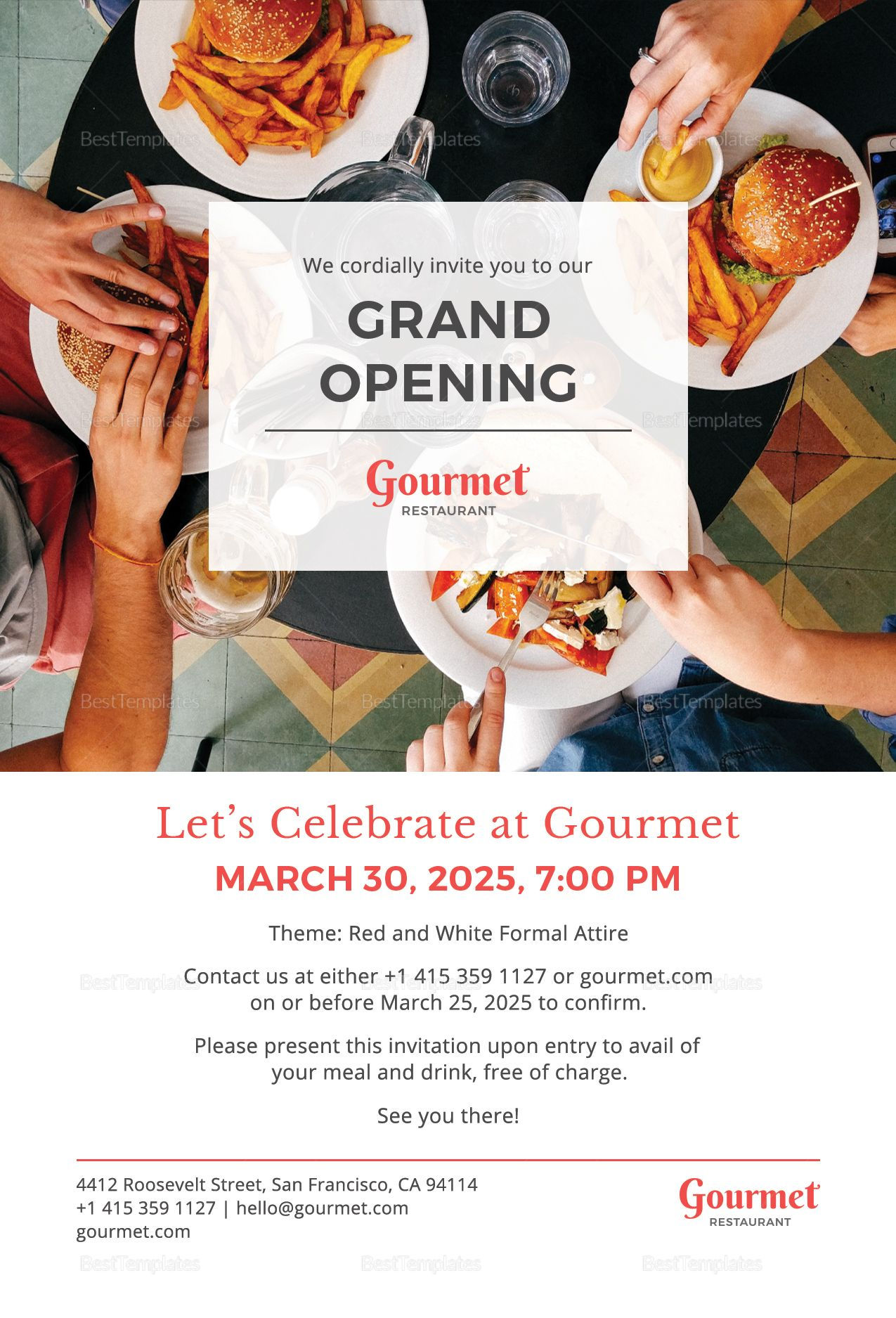 restaurant grand opening complimentary