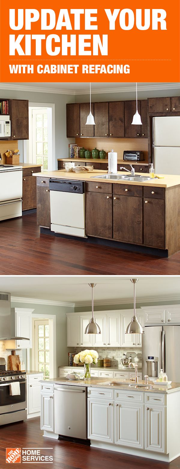 Get Your Own Before And After With A Mini Makeover For Your Kitchen Cabinet Refacing With The Home Depot Can Gi Home Decor Best Kitchen Cabinets Home Kitchens