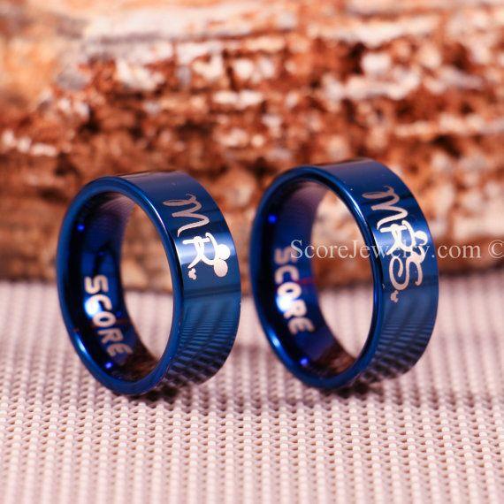 Set Blue Tungsten Bands With Flat Edge Mickey Minnie Mr