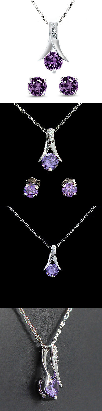 Other Wedding Jewelry 164311: 2.25 Ct Round Purple Amethyst .925 Silver Pendant And Earrings Set 18 Chain -> BUY IT NOW ONLY: $129.99 on eBay!