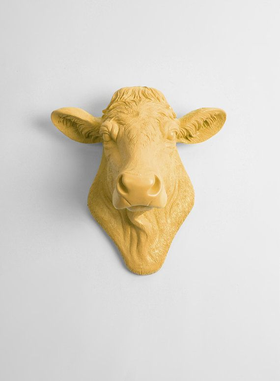 Cow Head Decor by White Faux Taxidermy - The Bessie in Mustard- Cow ...