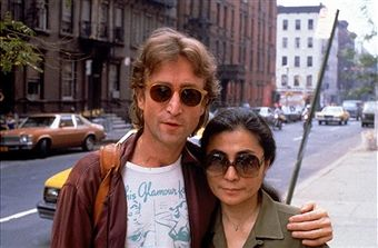 Rock star John Lennon (L) & his second wife Yoko Ono (R).