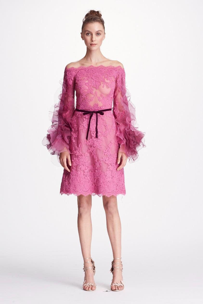 993dde08a78 MARCHESA COUTURE PINK OFF SHOULDER CORDED LACE COCKTAIL DRESS.  marchesa   cloth