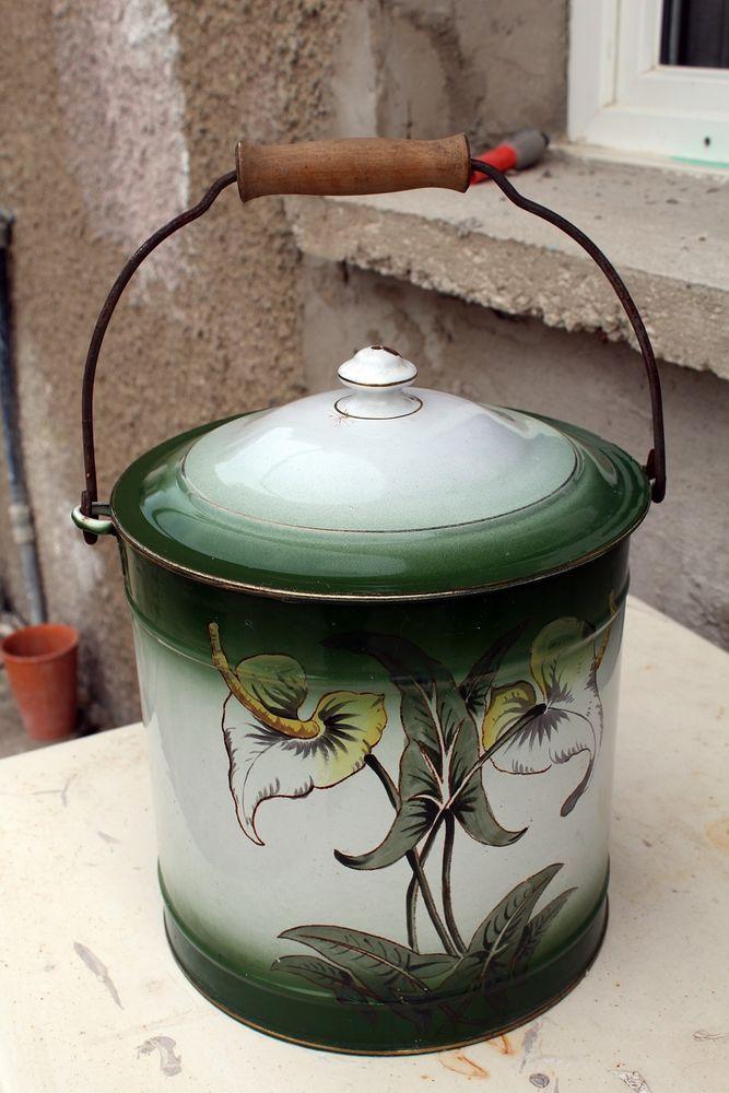 Seau Pot De Chambre Emaille Superbe Enamelware French Pot Art Nouveau Enamelware Compost Bin Compost