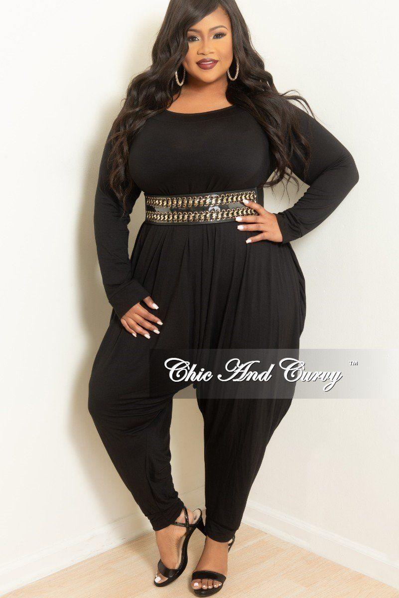 b2bfccbe0a33 Plus size long sleeve harem jumpsuit in black chic and curvy jpg 801x1200  Curvy harem jumper