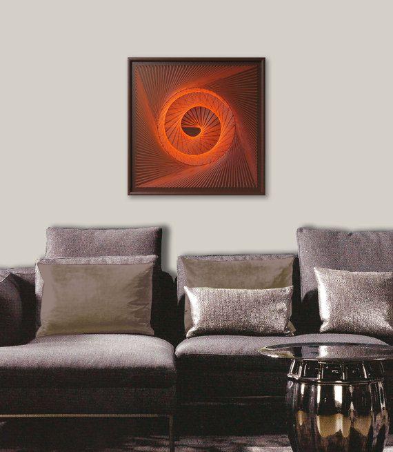 Zen Wall Decor zen wall art in orange - 3d string art - abstract spiritual uv