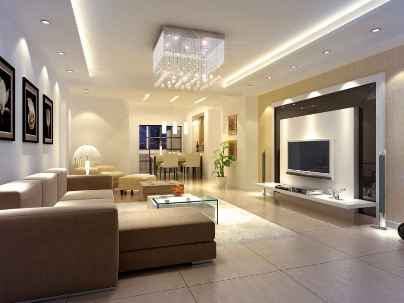Modern Luxury Interior Design With Modern Ceiling Lighting In False Ceiling With White And Cream Wall