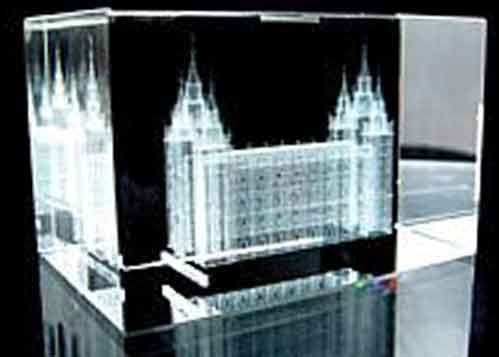 LDS Temples Crystal Cubes Cake Toppers