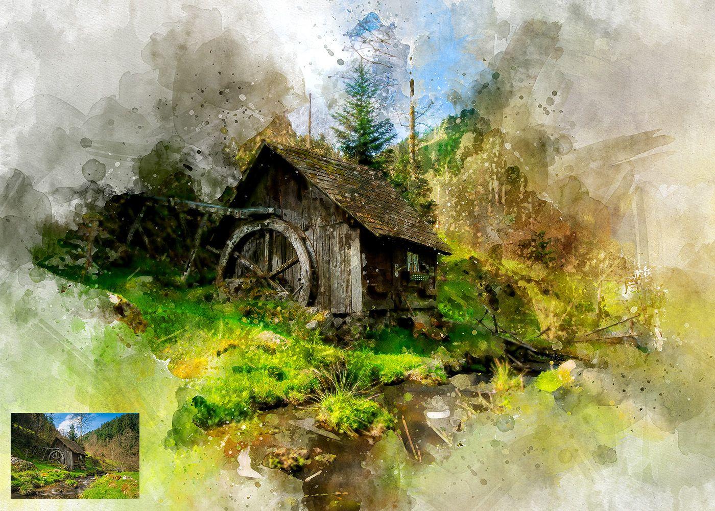 Watercolor Artist Perfectum 2 Photoshop Action Photoshop