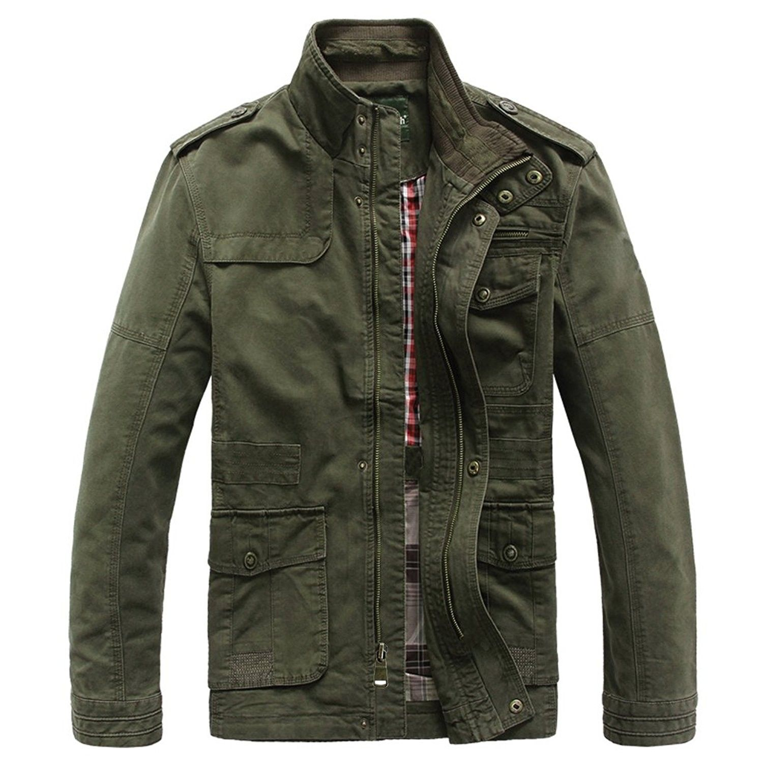 Men's Classic Field Coat Cotton Stand Collar Military