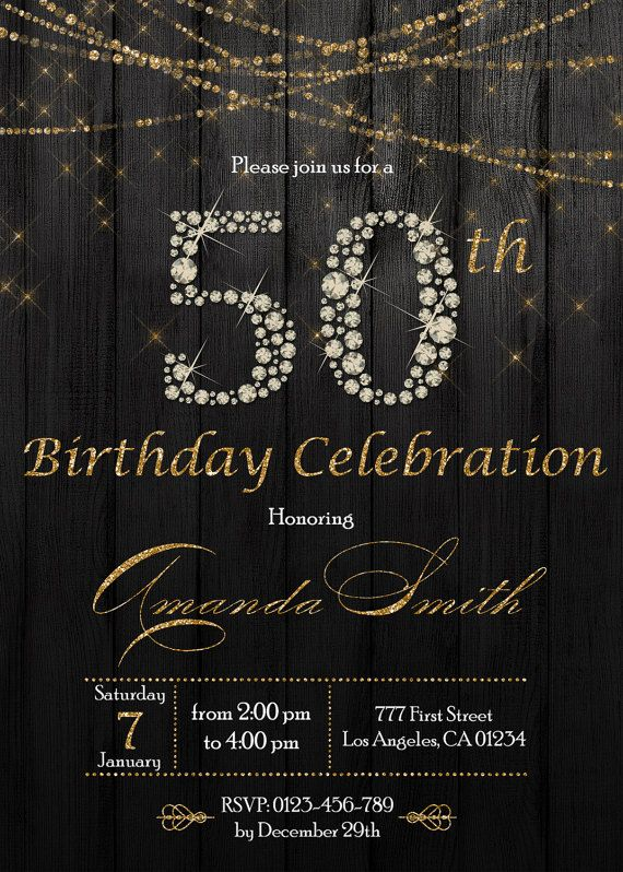 Gold And Diamonds Confetti 50th Birthday Invitation For Women, 50th Birthday Invite, Black And Gold Birthday Invitation For Women #moms50thbirthday