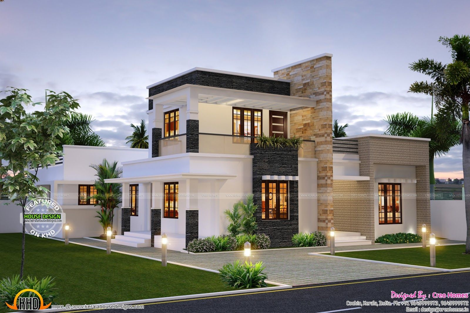 Cute Contemporary Home Flat Roof House Modern House Plans Small House Design