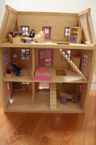Melissa And Doug Multi Level Solid Wood Dollhouse With Family Of 5