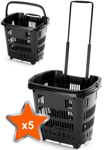 5 X 34 Litre Shopping Basket On Wheels Black Canastas