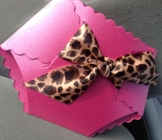 Baby Shower Diaper Invitations: Leopard, Cheetah, or Zebra Print Accent Baby Shower Diaper Invitation for a Girl Baby Shower