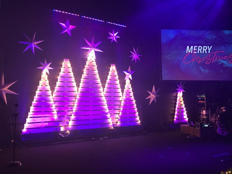 Clustered Trees Church Stage Design Ideas Christmas Stage Design Christmas Stage Decorations Christmas Stage