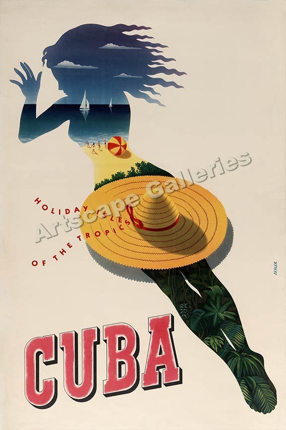 Carnival in Havana Cuba 1940s Vintage Style Travel Poster 16x24