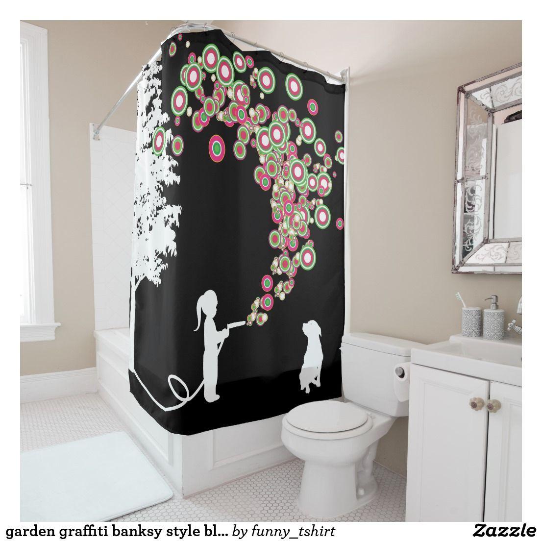 Garden Graffiti Banksy Style Black Shower Curtain Zazzle Com