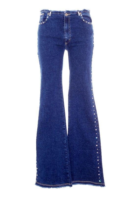 1768d20601313 Pantalón Mujer Vaquero Acampanado - HPK con Brillantes de Segunda Mano