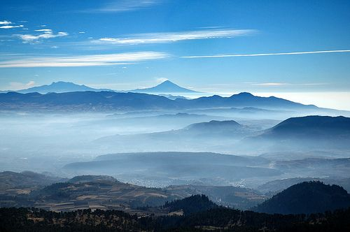 Iztaccihuatl and Popocatepetl from Nevado de Toluca