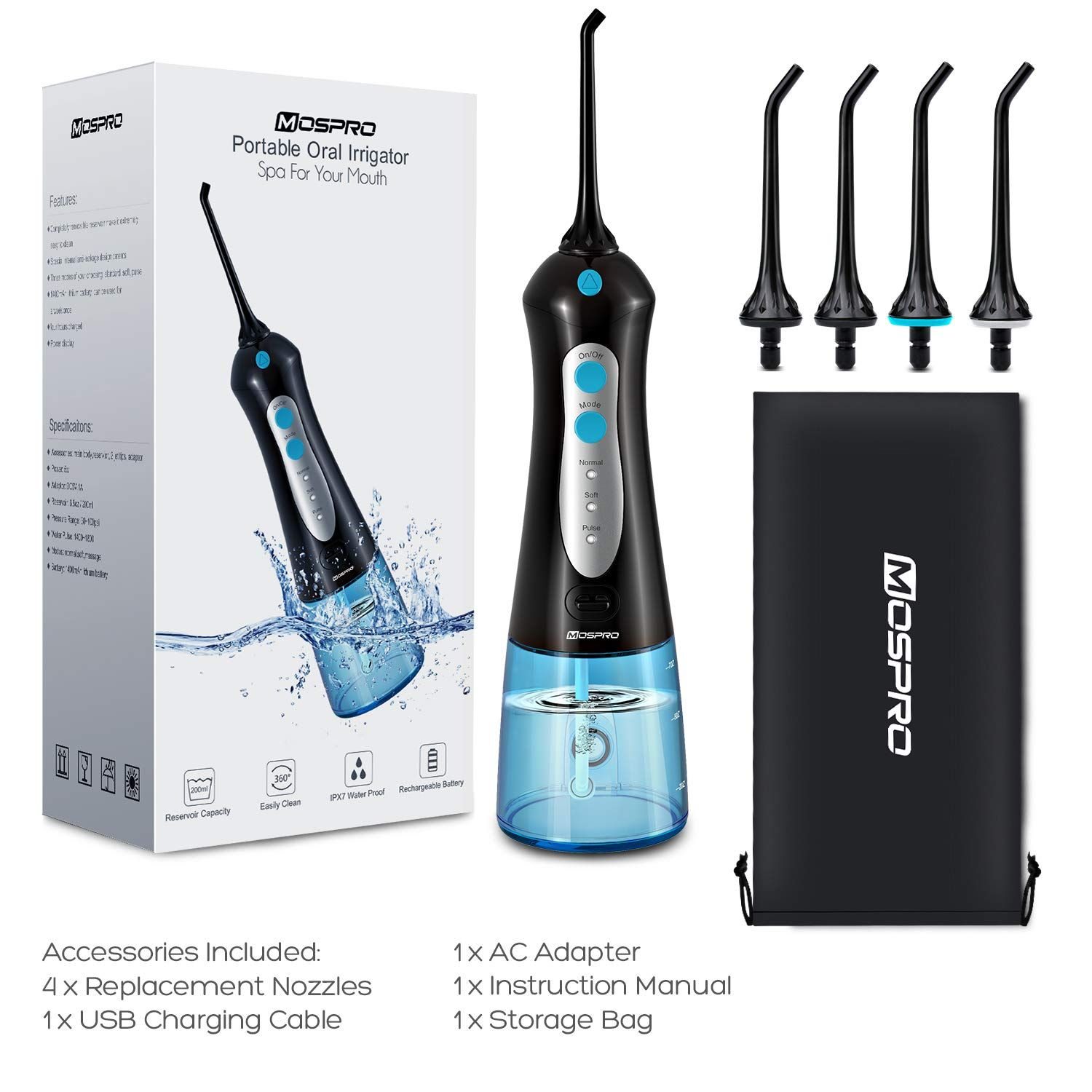 Water Flosser Professional Cordless Dental Oral Irrigator 300ml Portable And Rechargeable Ipx7 Water Flosser Flosser Oral