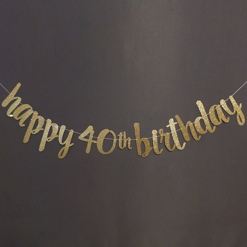 BlackGoldSilver Glitter HAPPY 40TH BIRTHDAY Banner 40th Party