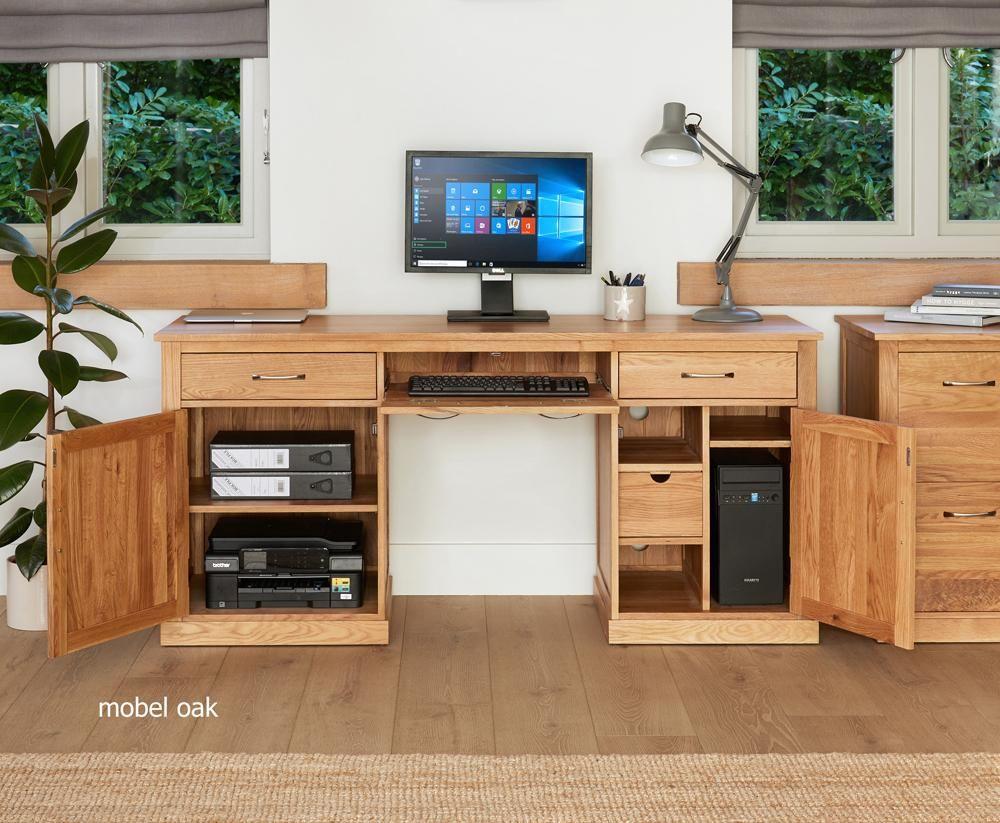 Mobel Oak Large Hidden Office Twin Pedestal Desk by Baumhaus