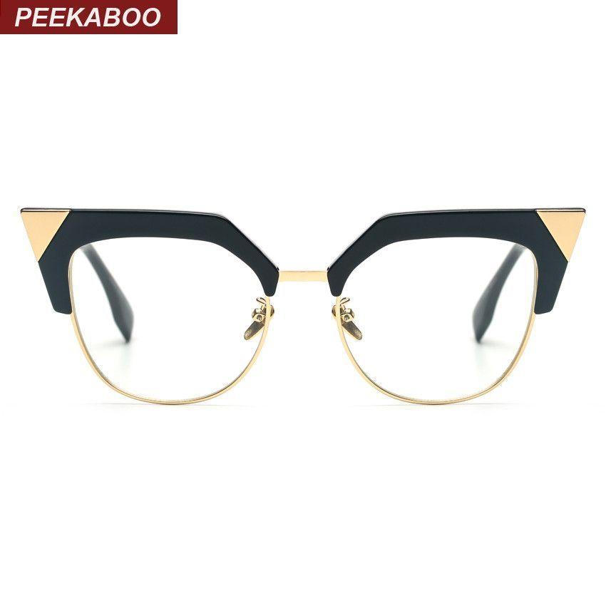 Peekaboo new women fashion glasses cat eye half metal big cat eye ...