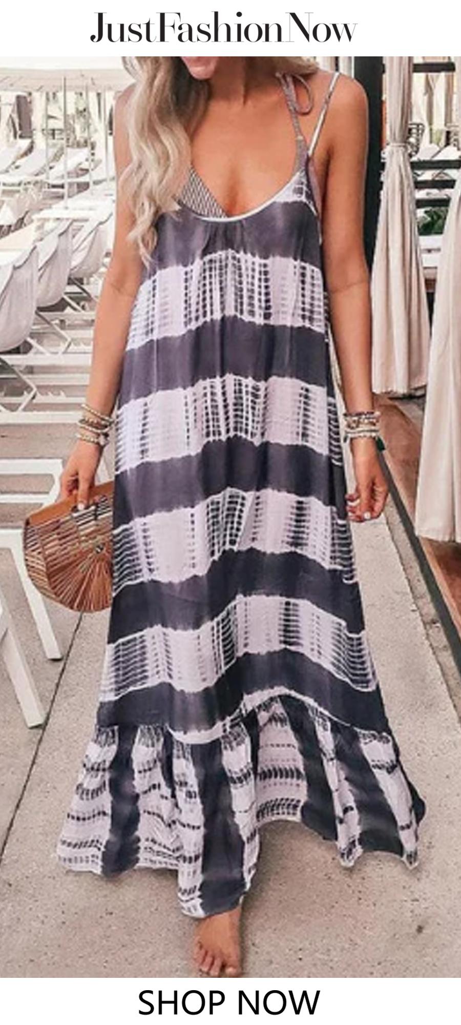 41fde57f3cf8e Gray Swing Women Daily Spaghetti Casual Patchwork Summer Dress #dress#Maxi  dress#Summer Dress