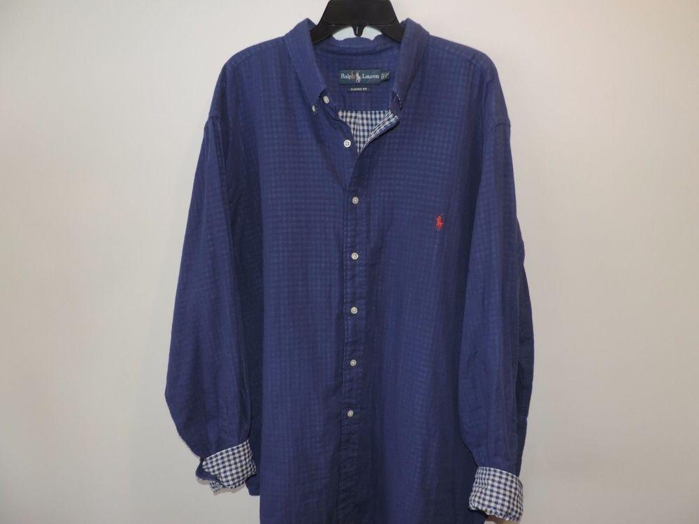 Ralph Lauren Big & Tall Blue Flannel Plaid Flip Cuffl Shirt 2XB Mint Fast Ship #RalphLauren #ButtonFront