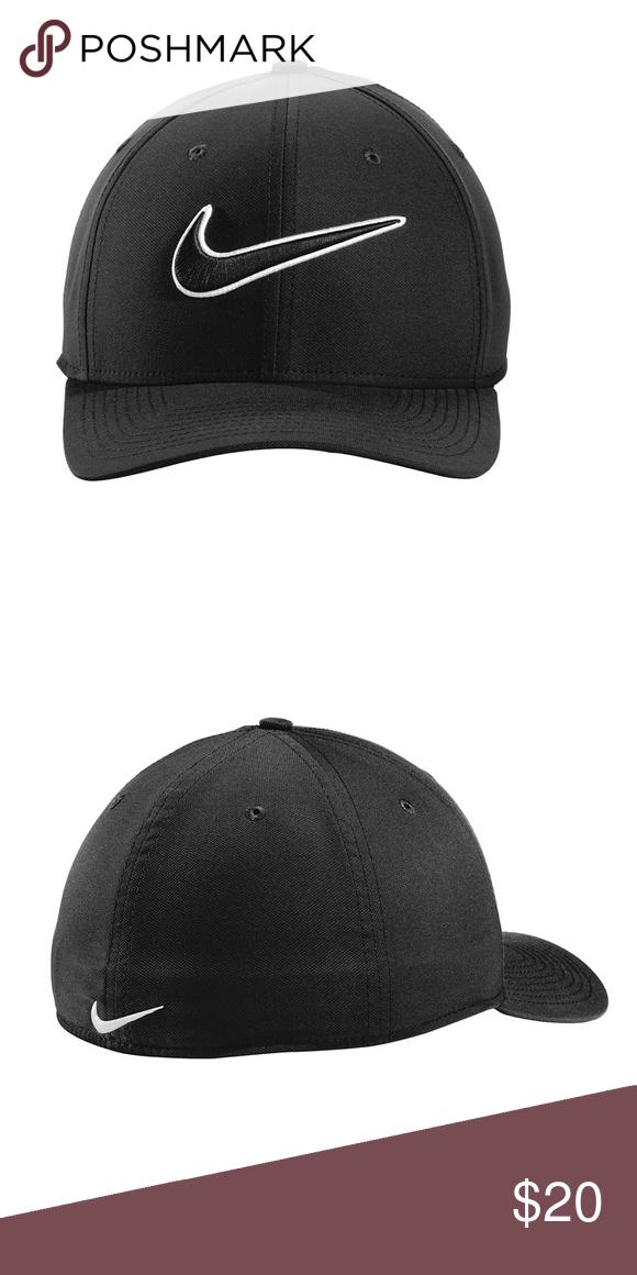 Nike Swoosh Fitted Hat. NWOT Nike Black White Swoosh Fitted M LG Hat Nike  Accessories Hats 86486e146f3