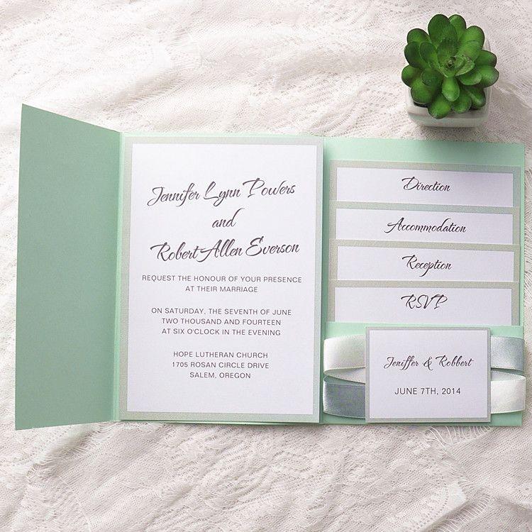 Minted Wedding Invitations Minted Wedding Invitations Wedding Invitation Ribbon Wedding Mint Green