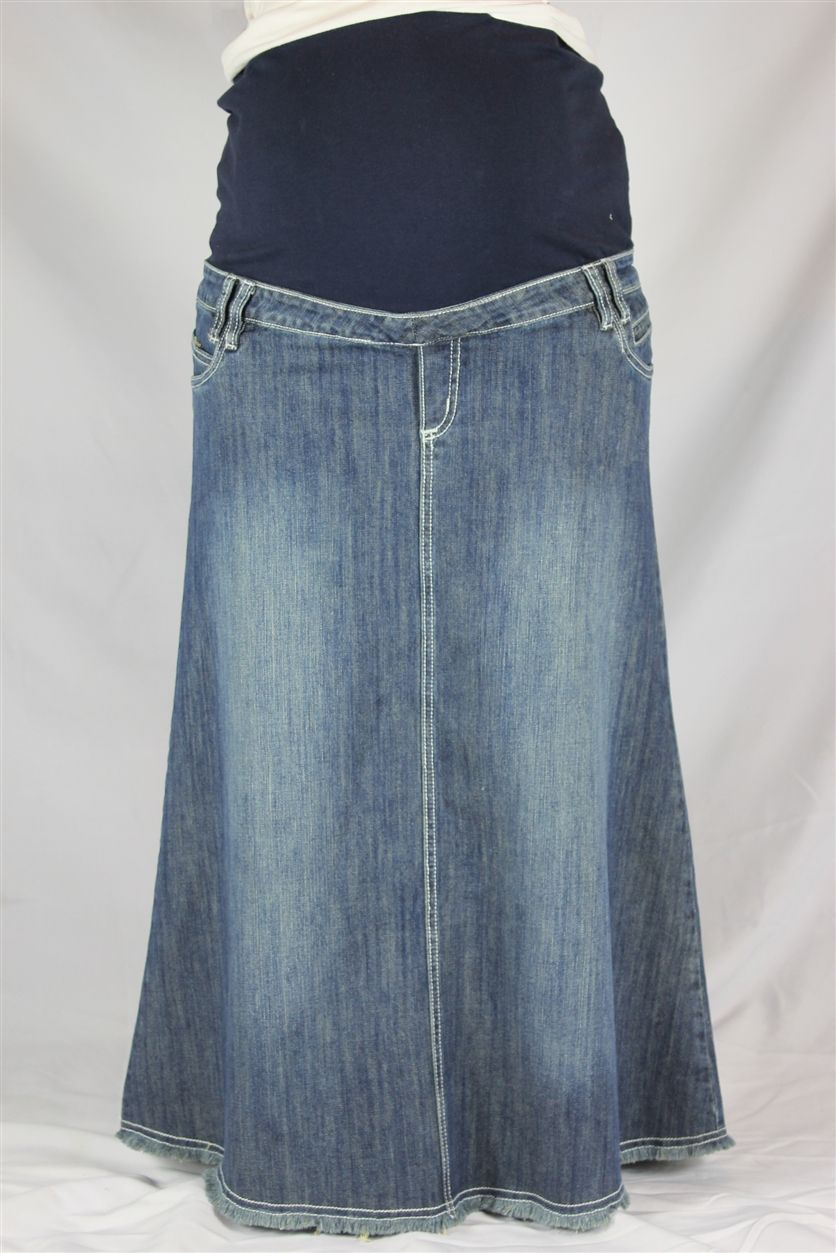 best prices new york half off Sweet Vintage Long Denim Maternity Skirt | Maternity skirt ...