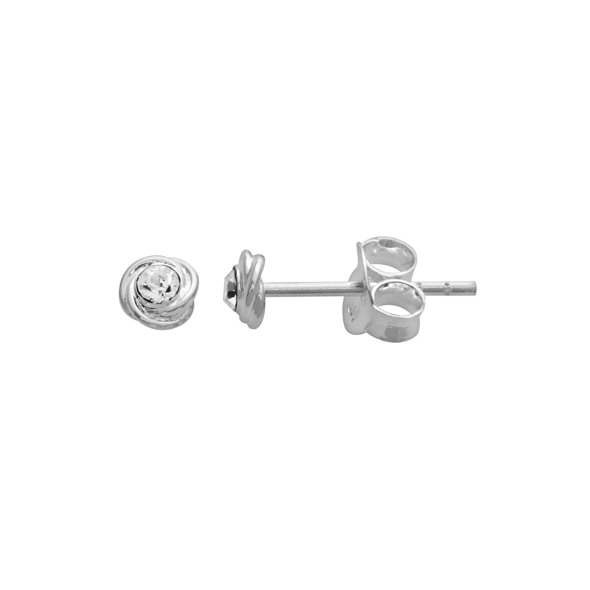 04f3dab31 Itsy Bitsy Sterling Silver Crystal Love Knot Stud Earrings, Women's, Grey