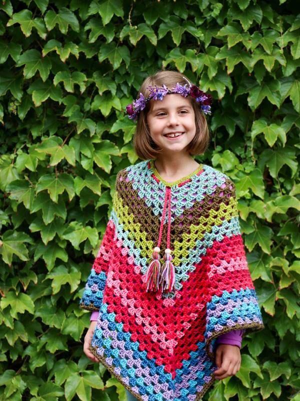 Caron Cakes Rainbow Poncho Pattern (Crochet | Poncho niña, Ponchos y ...