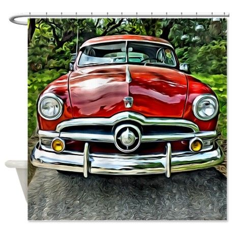 Vintage Red 1950 Ford Coupe Car Shower Curtain On CafePress