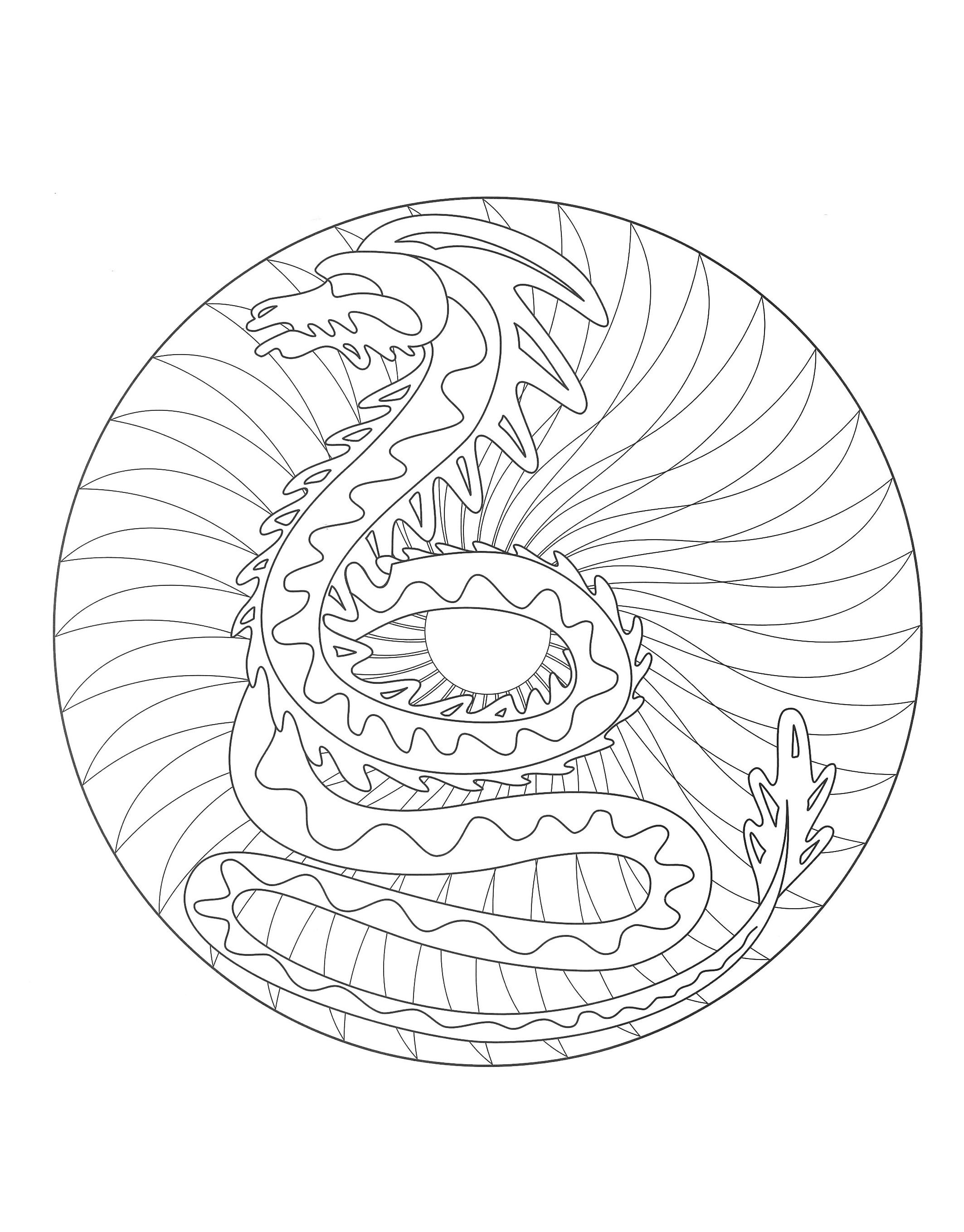 free mandala coloring page representing a dragon to download on