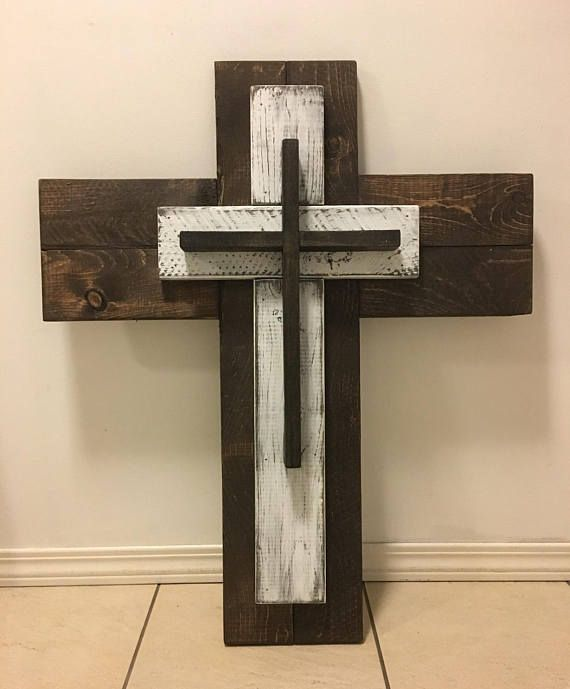 Rustic Wooden Cross Wall Decor 3 Layer
