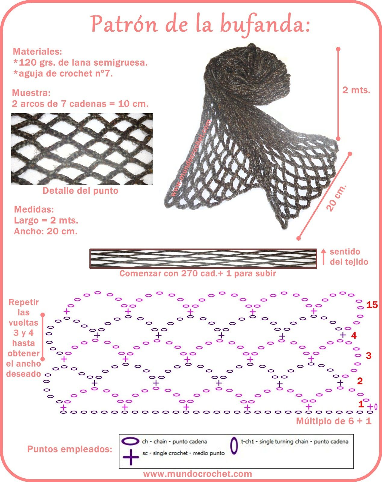 Bufanda sencilla en punto red - Mundo Crochet | Crochet | Ganchillo ...