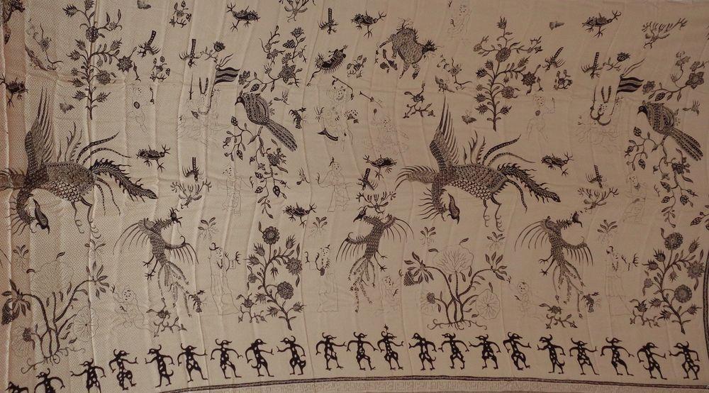 CHINESE INFLUENCE FINE SILK BATIK WAYANG PUPPETS SELENDANG PHOENIX BIRDS  VINTAGE c791631f12
