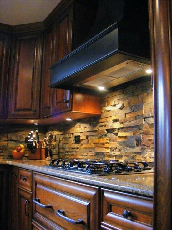 Stacked stone backsplash on Pinterest | Stacked Stones, Custom .